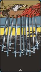 Diễn Giải Ngược của Lá Bài 10 of Swords