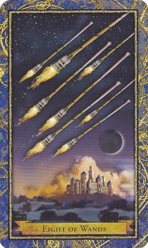 Ý nghĩa lá 8 of Wands trong bộ bài Wizards Tarot