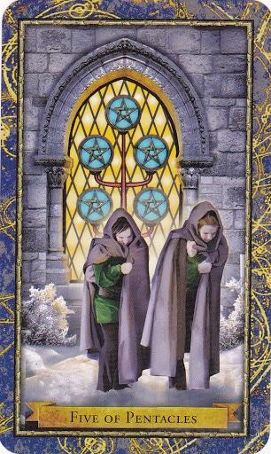 Ý nghĩa lá 5 of Pentacles trong bộ Wizards Tarot