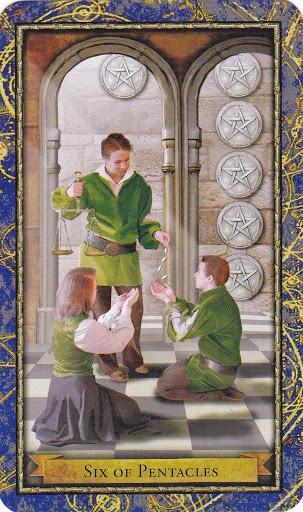 Ý nghĩa lá 6 of Pentacles trong bộ Wizards Tarot
