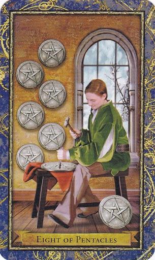Ý nghĩa lá 8 of Pentacles trong bộ Wizards Tarot