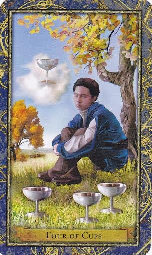 Ý nghĩa lá 4 of Cups trong bộ bài Wizards Tarot
