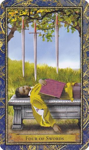 Ý nghĩa lá 4 of Swords trong bộ Wizards Tarot