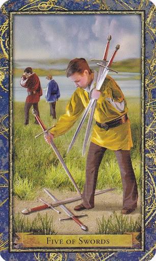 Ý nghĩa lá 5 of Swords trong bộ Wizards Tarot