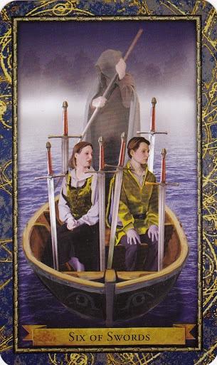 Ý nghĩa lá 6 of Swords trong bộ Wizards Tarot