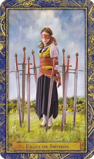Ý nghĩa lá 8 of Swords trong bộ Wizards Tarot