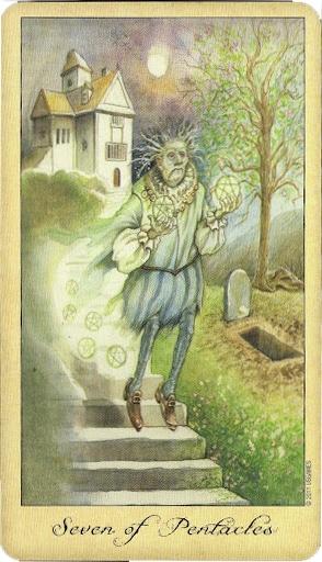 Lá Seven of Pentacles – Ghosts and Spirits Tarot