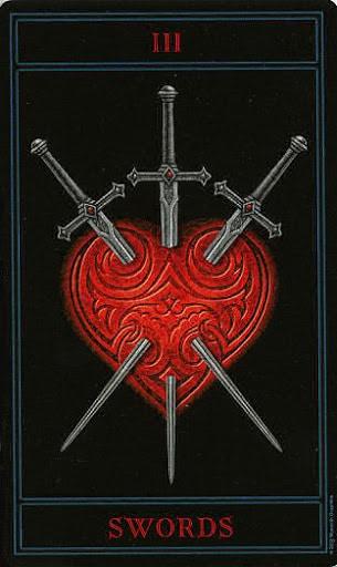 Lá Three of Swords – Gothic Tarot