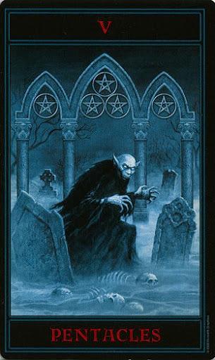 Lá Five of Pentacles – Gothic Tarot