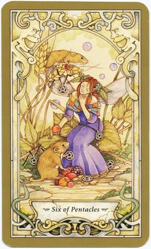Lá 6 of Pentacles - Mystic Faerie Tarot