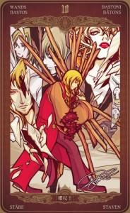 Ý nghĩa lá bài 10 of Wands trong bộ Oze69 Watchers Tarot