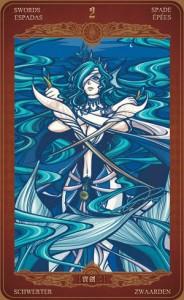 Ý nghĩa lá bài 2 of Swords trong bộ Oze69 Watchers Tarot