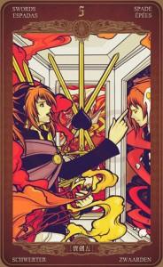 ý nghĩa lá bài 5 of Swords trong bộ bài Oze69 Watchers Tarot