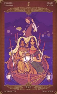 ý nghĩa lá bài 6 of Swords trong bộ bài Oze69 Watchers Tarot