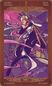ý nghĩa lá bài 7 of Swords trong bộ bài Oze69 Watchers Tarot