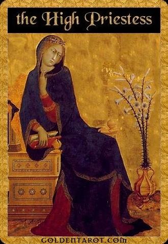 Lá II. The High Priestess - Golden Tarot