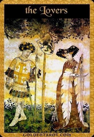 Lá VI. The Lovers - Golden Tarot