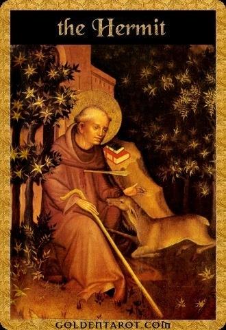 Lá IX. The Hermit - Golden Tarot