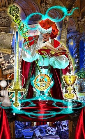 Lá I  The Magician trong bộ bài Tarot Illuminati