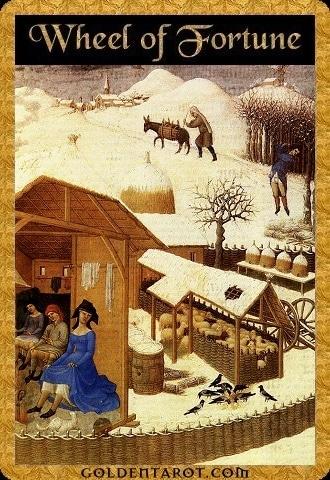 Lá X. Wheel of Fortune - Golden Tarot