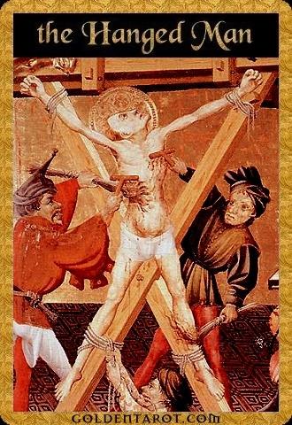 Lá XII. The Hanged Man - Golden Tarot