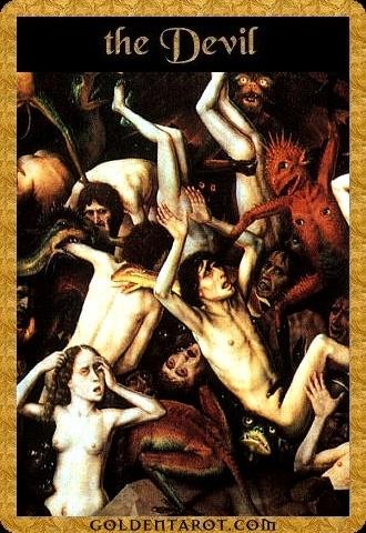 Lá XV. The Devil - Golden Tarot
