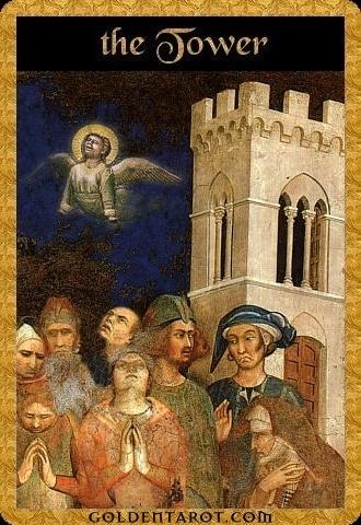 Lá XVI. The Tower – Golden Tarot