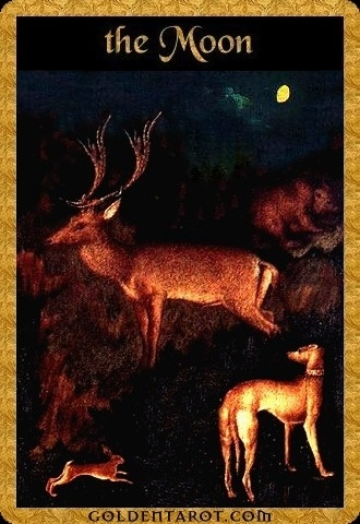 Lá XVIII. The Moon - Golden Tarot