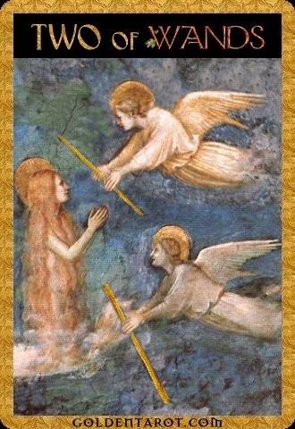 Lá Two of Wands - Golden Tarot