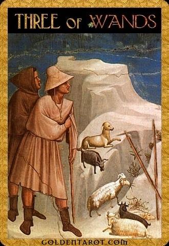 Lá Three of Wands - Golden Tarot
