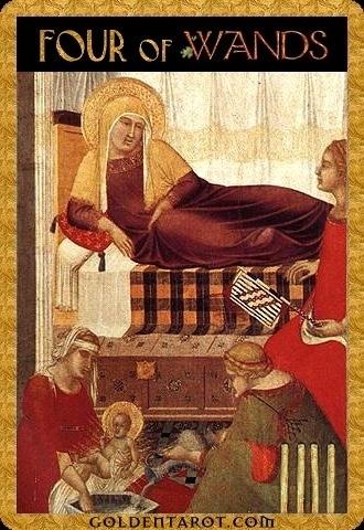 Lá Four of Wands - Golden Tarot
