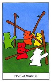 Lá Five of Wands trong bộ Gummy Bear Tarot