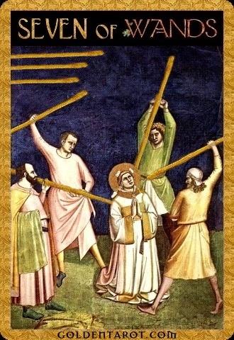 Lá Seven of Wands - Golden Tarot