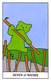 Hình Ảnh Lá Seven of Wands - Gummy Bear Tarot Kênh Kiến Thức Và Tri Thức