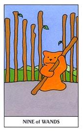 Lá Nine of Wands trong bộ Gummy Bear Tarot
