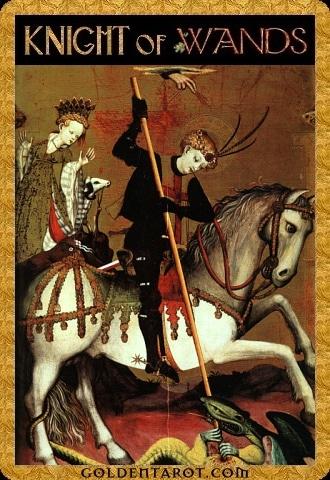 Lá Knight of Wands - Golden Tarot