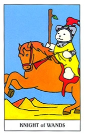 Lá Knight of Wands trong bộ Gummy Bear Tarot