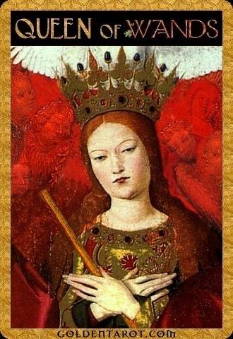 Lá Queen of Wands – Golden Tarot