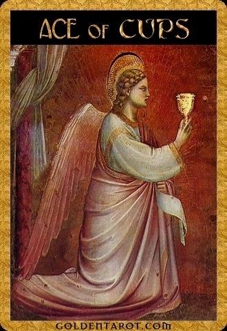 Lá Ace of Cups - Golden Tarot