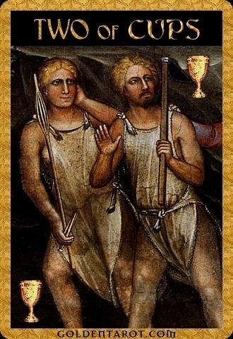 Lá Two of Cups - Golden Tarot