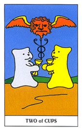 Lá Two of Cups trong bộ Gummy Bear Tarot