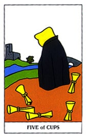 Lá Five of Cups trong bộ Gummy Bear Tarot