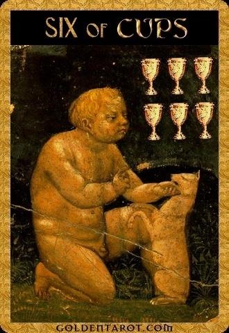 Lá Six of Cups - Golden Tarot