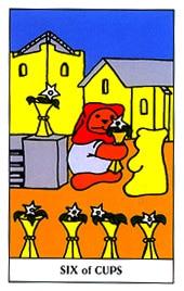 Lá Six of Cups trong bộ Gummy Bear Tarot