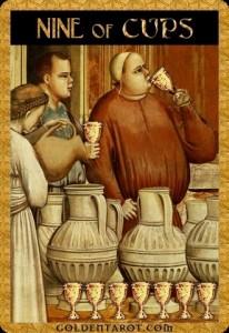 Lá bài Nine of Cups trong bộ Golden Tarot