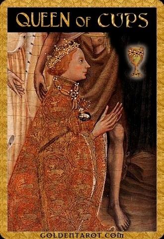 Lá Queen of Cups - Golden Tarot