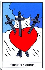 Lá Three of Swords trong bộ Gummy Bear Tarot