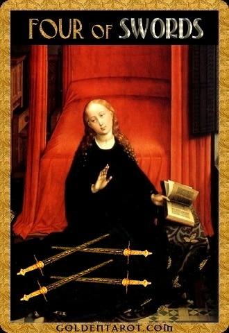 Lá Four of Swords - Golden Tarot