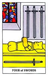 Lá four of Swords trong bộ Gummy Bear Tarot