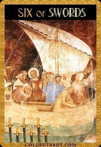 Lá Six of Swords - Golden Tarot